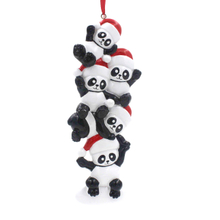 Panda Buddies Family Of 5 Personalized Christmas Tree Ornament