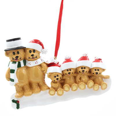 Brown Bear Family Of 6 Personalized Christmas Tree Ornament