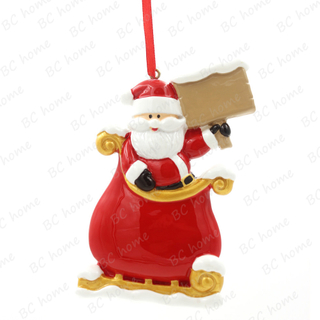 Santa Claus In Sled Ornament Personalized Christmas Tree Ornament