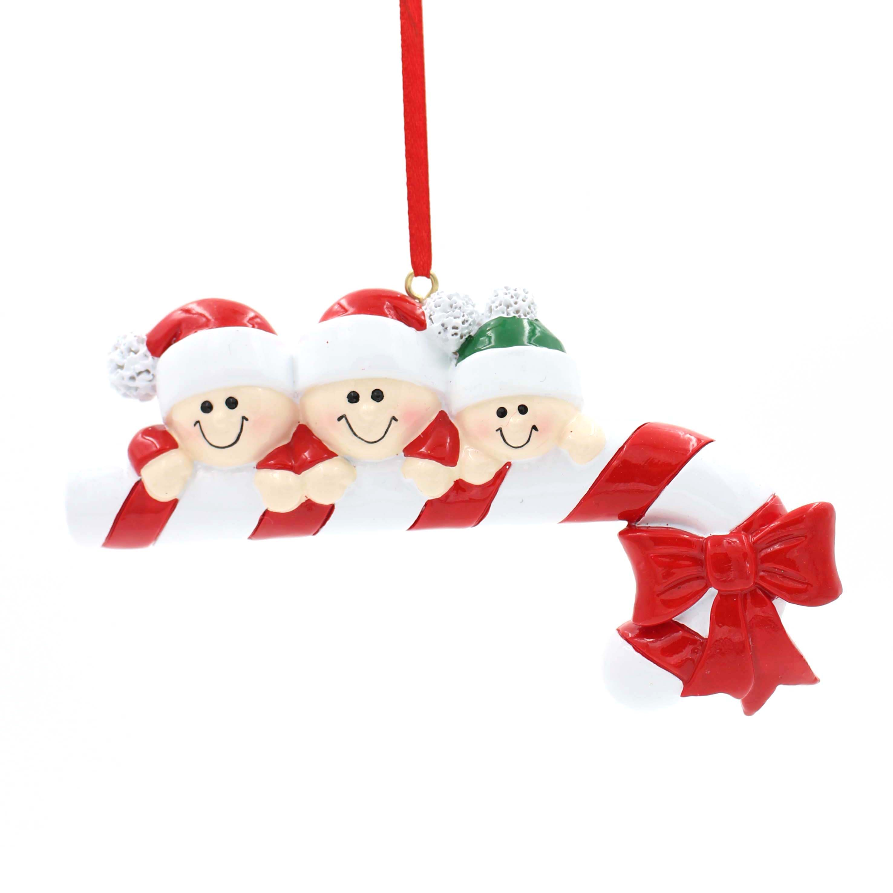Candy Cane Family Of 6 Personalized Christmas Tree Ornament