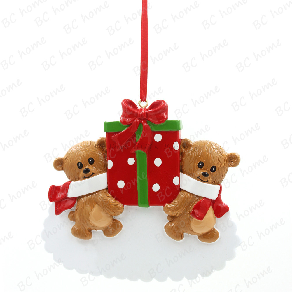 Bear With Gifts Personalized Christmas Tree Ornament