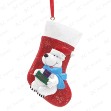 Bear With Sock Ornament Personalized Christmas Tree Ornament