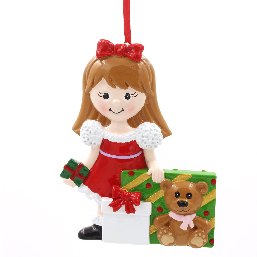 Girl With Gifts Ornament Personalized Christmas Tree Ornament