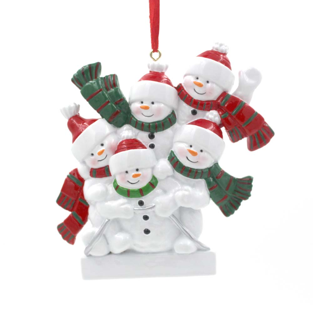Snowman Sleigh Family Of 6 Personalized Christmas Tree Ornament