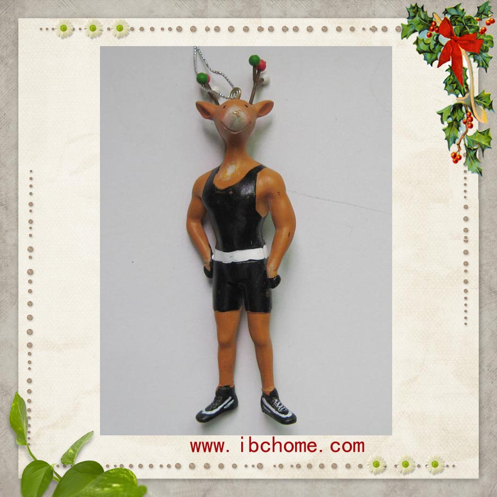 Resin reindeer Christmas tree ornament