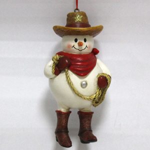 Resin Snowman Cowboy Christmas tree ornament