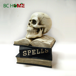 skull on the book Halloween decorations