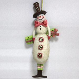 Resin Snowman Gentleman Christmas tree ornament